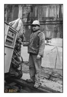 Ouvrier rocteur et haveuse, Carrières du Hainaut, Soignies, Belgique, 2004 - argentique